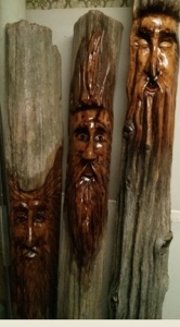 Three finished wood spirits, 2014